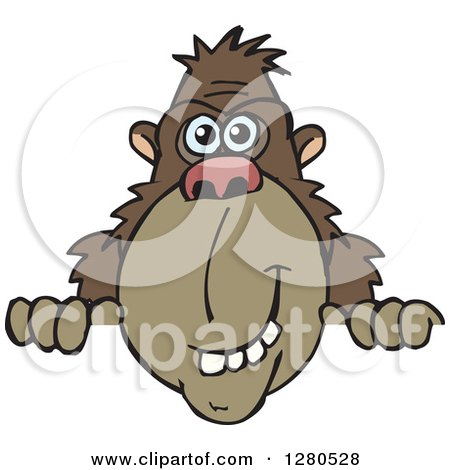 Clipart of a Happy Brown Ape Peeking over a Sign - Royalty Free Vector Illustration by Dennis Holmes Designs