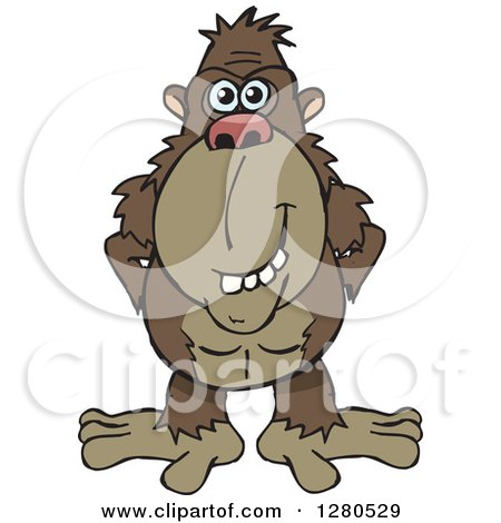 Clipart of a Happy Brown Ape - Royalty Free Vector Illustration by Dennis Holmes Designs