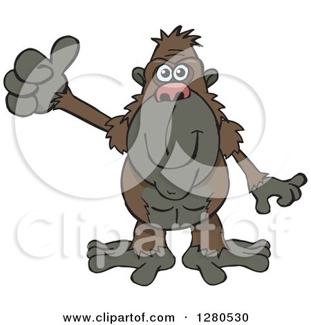 Clipart of a Happy Ape Holding a Thumb up - Royalty Free Vector Illustration by Dennis Holmes Designs