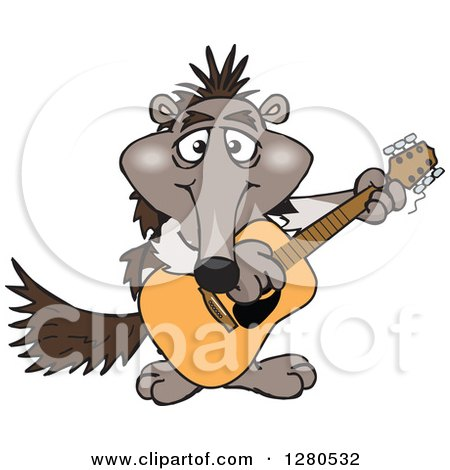 Clipart of a Happy Anteater Musician Playing a Guitar - Royalty Free Vector Illustration by Dennis Holmes Designs
