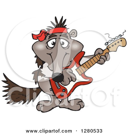 Clipart of a Happy Anteater Musician Playing an Electric Guitar - Royalty Free Vector Illustration by Dennis Holmes Designs