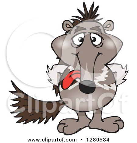 Clipart of a Goofy Anteater Sticking His Tongue out - Royalty Free Vector Illustration by Dennis Holmes Designs