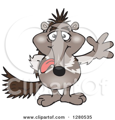 Clipart of a Goofy Waving Anteater Sticking His Tongue out - Royalty Free Vector Illustration by Dennis Holmes Designs