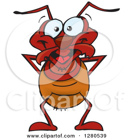 Clipart of a Happy Ant - Royalty Free Vector Illustration by Dennis Holmes Designs