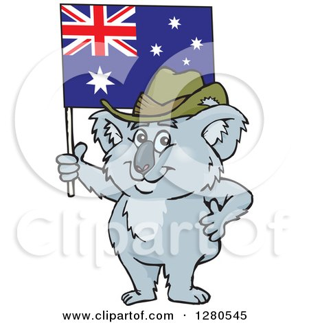 Clipart of a Happy Koala Holding up an Australian Flag - Royalty Free Vector Illustration by Dennis Holmes Designs