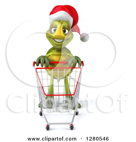 Clipart of a 3d Christmas Tortoise with an Empty Shopping Cart - Royalty Free Illustration by Julos