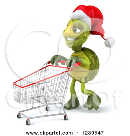 Clipart of a 3d Christmas Tortoise Pushing an Empty Shopping Cart to the Left - Royalty Free Illustration by Julos