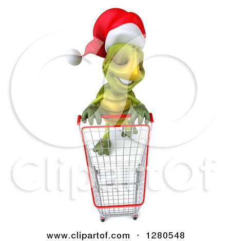 Clipart of a 3d Aerial View of a Christmas Tortoise with an Empty Shopping Cart - Royalty Free Illustration by Julos