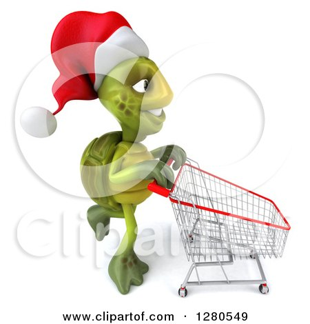 Clipart of a 3d Christmas Tortoise Pushing an Empty Shopping Cart to the Right - Royalty Free Illustration by Julos