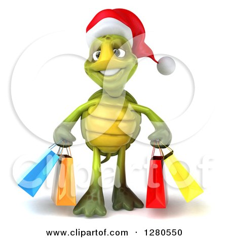 Clipart of a 3d Christmas Tortoise Carrying Colorful Shopping or Gift Bags - Royalty Free Illustration by Julos