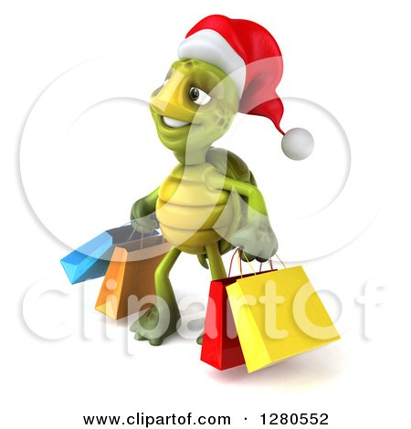 Clipart of a 3d Christmas Tortoise Facing Left and Carrying Colorful Shopping or Gift Bags - Royalty Free Illustration by Julos