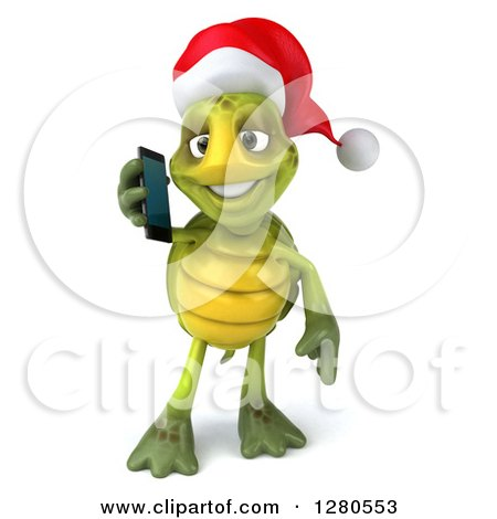 Clipart of a 3d Christmas Tortoise Talking on a Smart Cell Phone - Royalty Free Illustration by Julos