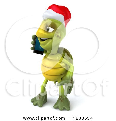 Clipart of a 3d Christmas Tortoise Facing Left and Talking on a Smart Cell Phone - Royalty Free Illustration by Julos