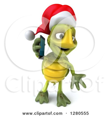 Clipart of a 3d Christmas Tortoise Shrugging and Talking on a Smart Cell Phone - Royalty Free Illustration by Julos