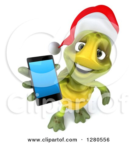 Clipart of a 3d Christmas Tortoise Holding up a Smart Cell Phone - Royalty Free Illustration by Julos
