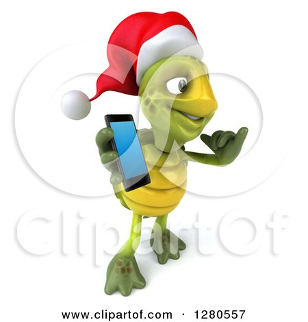 Clipart of a 3d Christmas Tortoise Facing Right, Gesturing Call Me and Holding a Smart Cell Phone - Royalty Free Illustration by Julos