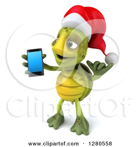 Clipart of a 3d Christmas Tortoise Facing Left, Gesturing Call Me and Holding a Smart Cell Phone - Royalty Free Illustration by Julos