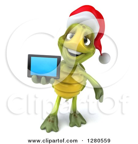 Clipart of a 3d Christmas Tortoise Holding out a Tablet Computer or a Smart Cell Phone - Royalty Free Illustration by Julos