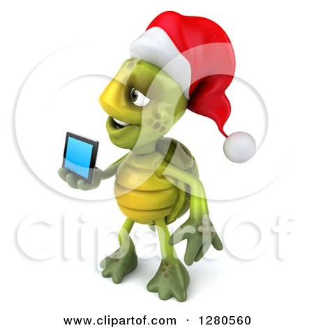 Clipart of a 3d Christmas Tortoise Facing Left and Holding out a Tablet Computer or a Smart Cell Phone - Royalty Free Illustration by Julos