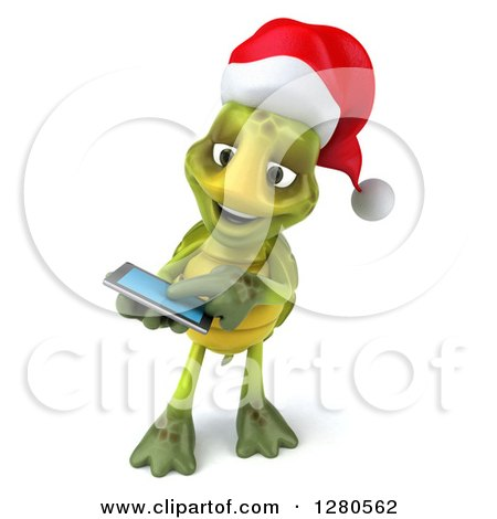 Clipart of a 3d Christmas Tortoise Swiping on a Tablet Computer or a Smart Cell Phone - Royalty Free Illustration by Julos