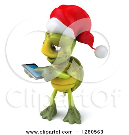 Clipart of a 3d Christmas Tortoise Facing Left and Swiping on a Tablet Computer or a Smart Cell Phone - Royalty Free Illustration by Julos