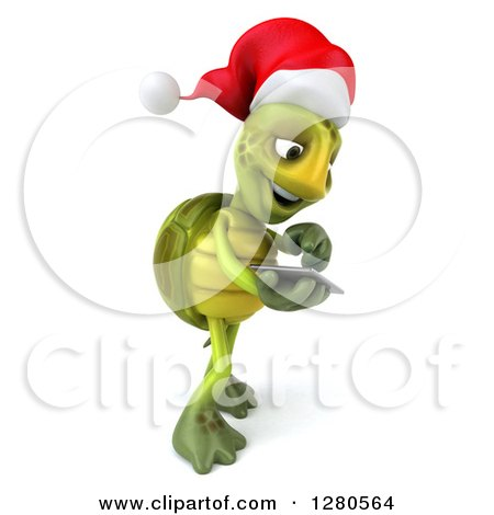 Clipart of a 3d Christmas Tortoise Facing Right and Swiping on a Tablet Computer or a Smart Cell Phone - Royalty Free Illustration by Julos