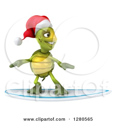Clipart of a 3d Christmas Tortoise Surfing - Royalty Free Illustration by Julos