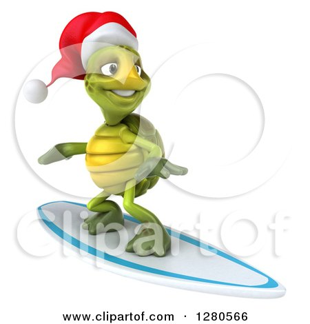 Clipart of a 3d Christmas Tortoise Surfing 2 - Royalty Free Illustration by Julos