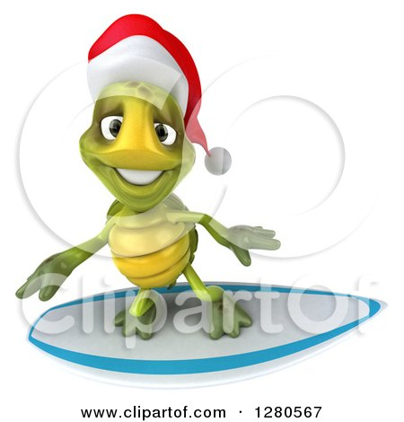 Clipart of a 3d Christmas Tortoise Surfing 3 - Royalty Free Illustration by Julos