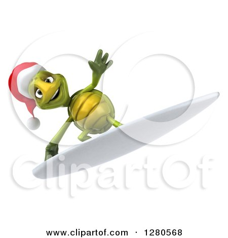Clipart of a 3d Christmas Tortoise Surfing 4 - Royalty Free Illustration by Julos