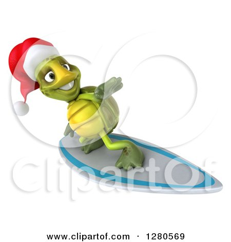 Clipart of a 3d Christmas Tortoise Surfing 5 - Royalty Free Illustration by Julos