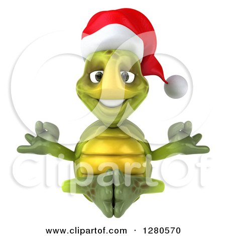 Clipart of a 3d Christmas Tortoise Meditating - Royalty Free Illustration by Julos
