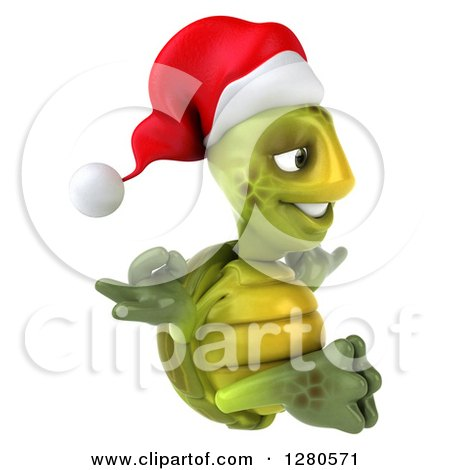 Clipart of a 3d Christmas Tortoise Facing Right and Meditating - Royalty Free Illustration by Julos