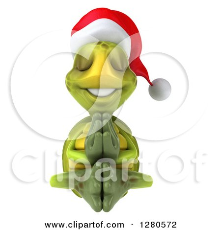 Clipart of a 3d Christmas Tortoise Meditating with His Eyes Closed - Royalty Free Illustration by Julos