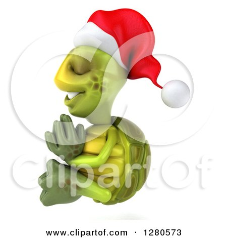 Clipart of a 3d Christmas Tortoise Facing Left and Meditating - Royalty Free Illustration by Julos