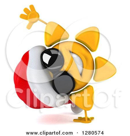 Clipart of a 3d Christmas Sun Wearing Sunglasses and ...