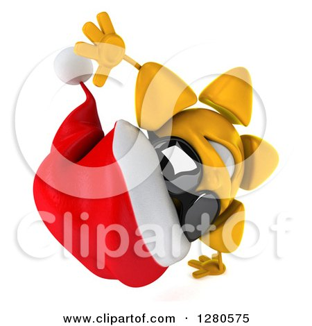 Clipart of a 3d Christmas Sun Wearing Sunglasses and Cartwheeling 2 - Royalty Free Illustration by Julos