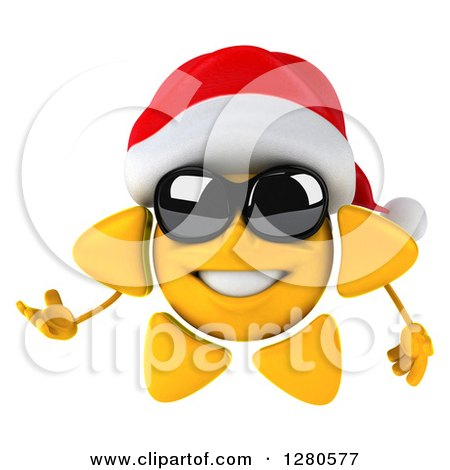 Clipart of a 3d Christmas Sun Wearing Sunglasses and Presenting to the Left - Royalty Free Illustration by Julos