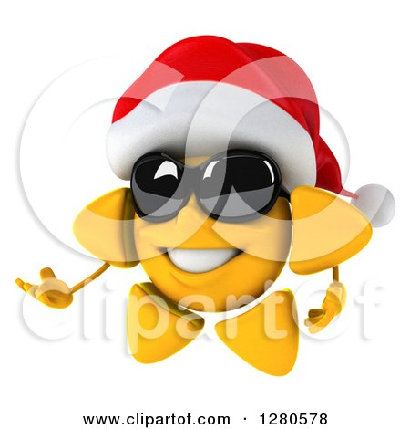 Clipart of a 3d Christmas Sun Wearing Sunglasses and Presenting to the Left 2 - Royalty Free Illustration by Julos