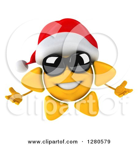 Clipart of a 3d Christmas Sun Wearing Sunglasses and Welcoming - Royalty Free Illustration by Julos