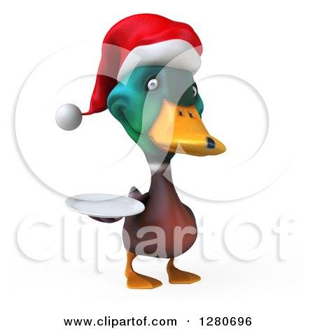 Clipart of a 3d Christmas Mallard Drake Duck Holding a Plate 2 ...