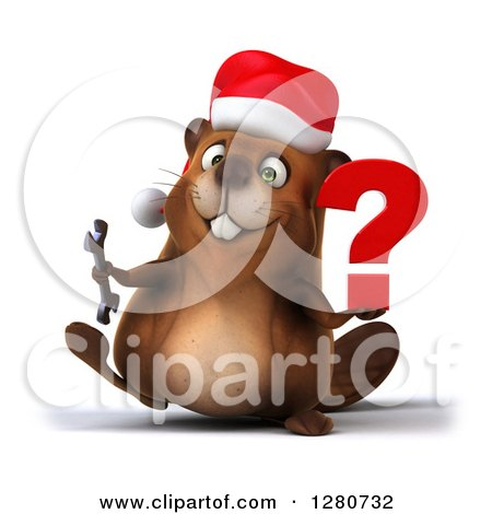 Clipart of a 3d Christmas Beaver Walking and Holding a ...