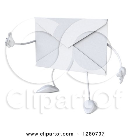 Clipart of a 3d Envelope Character Facing Slightly Left and Holding a Thumb up - Royalty Free Illustration by Julos