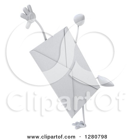 Clipart of a 3d Envelope Character Doing a Cartwheel - Royalty Free Illustration by Julos