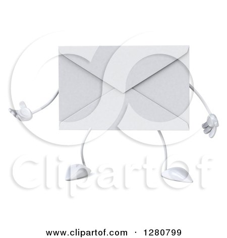 Clipart of a 3d Envelope Character Gesturing to the Left - Royalty Free Illustration by Julos