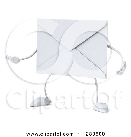 Clipart of a 3d Envelope Character Gesturing to the Left 2 - Royalty Free Illustration by Julos