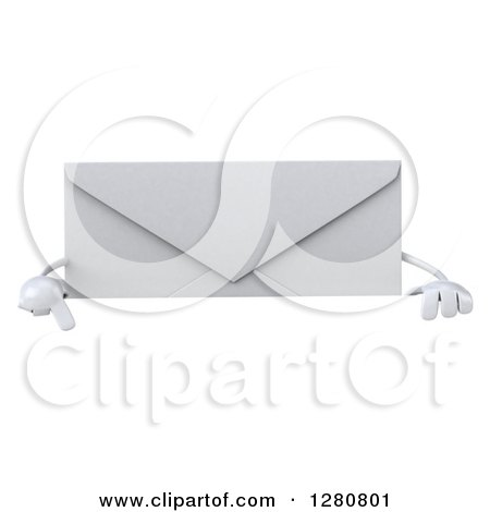 Clipart of a 3d Envelope Character Pointing down over a Sign - Royalty Free Illustration by Julos
