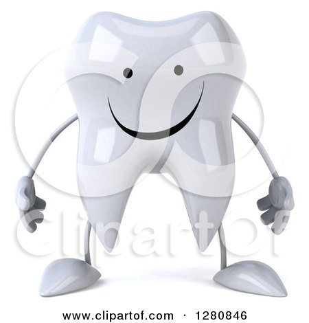 Clipart of a 3d Happy Tooth Character - Royalty Free Illustration by Julos