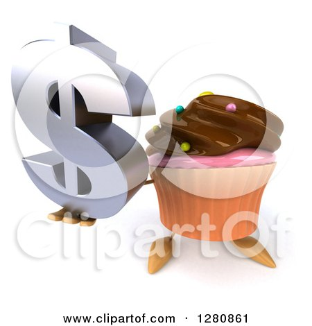 Clipart of a 3d Chocolate Frosted Cupcake Character Holding up a Dollar Symbol - Royalty Free Illustration by Julos