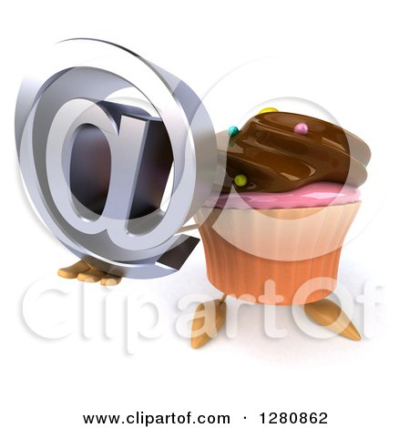 Clipart of a 3d Chocolate Frosted Cupcake Character Holding up an Email Arobase at Symbol - Royalty Free Illustration by Julos